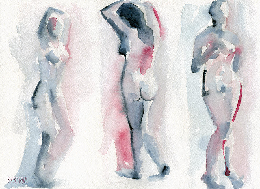 Women Painting - Three Women Pink and Blue Watercolor Nude Figure Painting by Beverly Brown Prints
