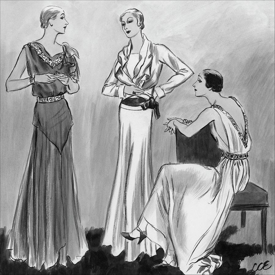 Three Women Wearing Designer Evening Gowns Digital Art by Creelman