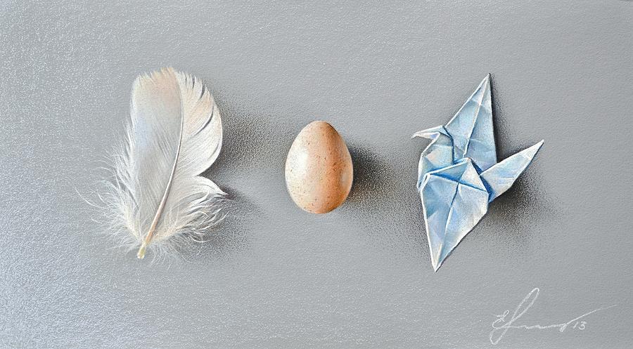 Still Life Drawing - Three Wonders by Elena Kolotusha