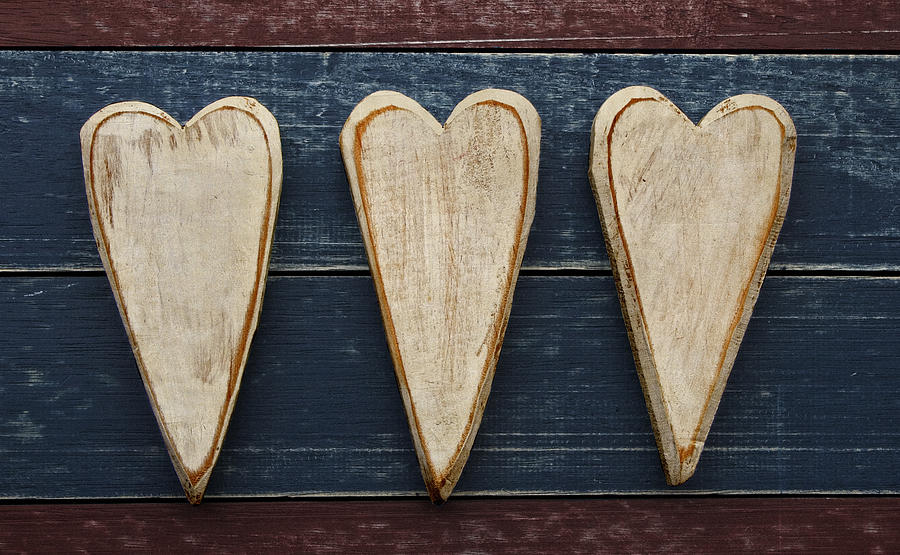 Three Photograph - Three Wooden Hearts by Carol Leigh