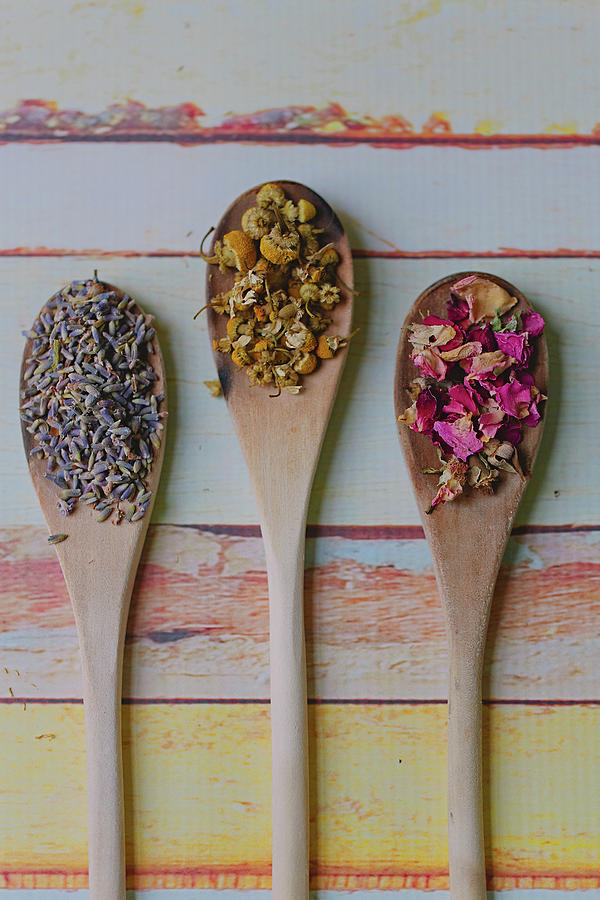Three Wooden Spoons Filled With Dried Photograph by Images By Debbie Wibowo