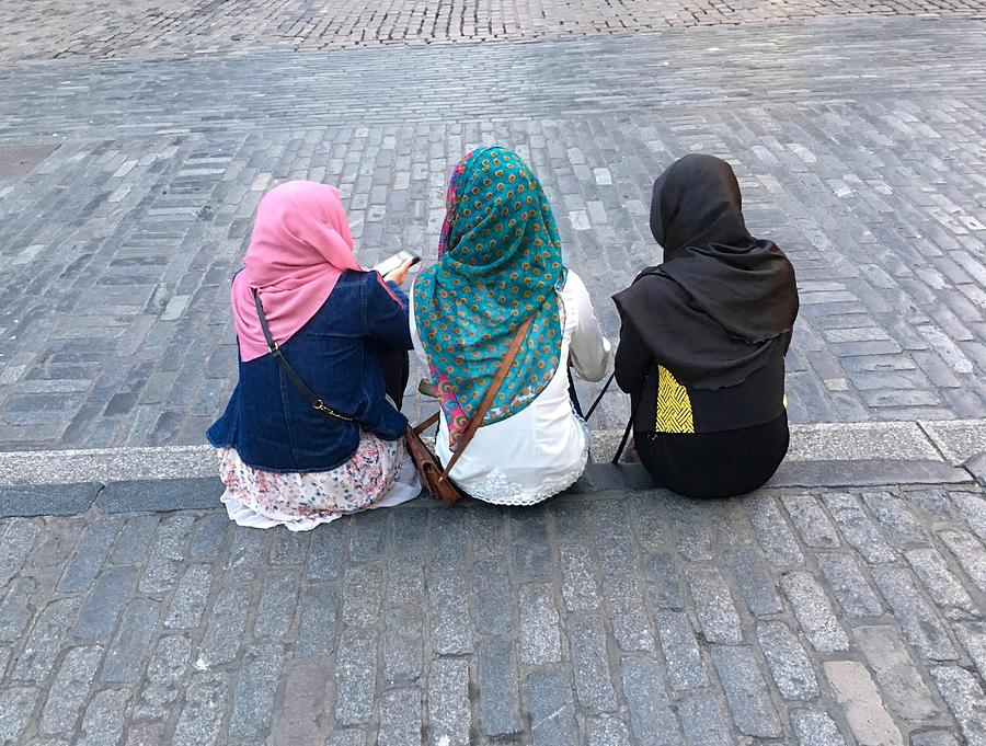 Three Young Muslim Girls Photograph by Montes-Bradley