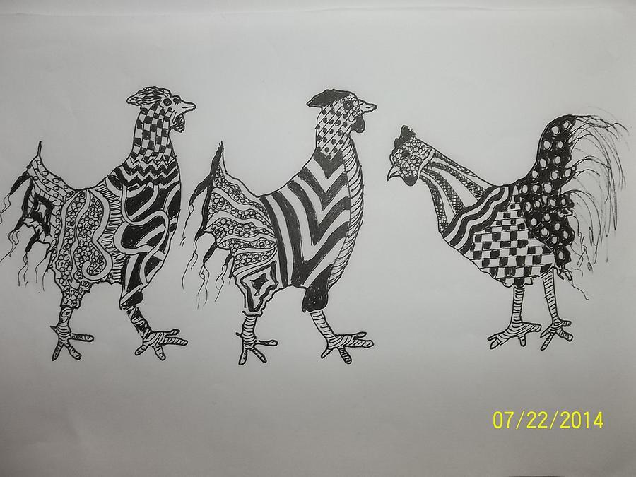 Three Zen Hens by Audrey Bunchkowski