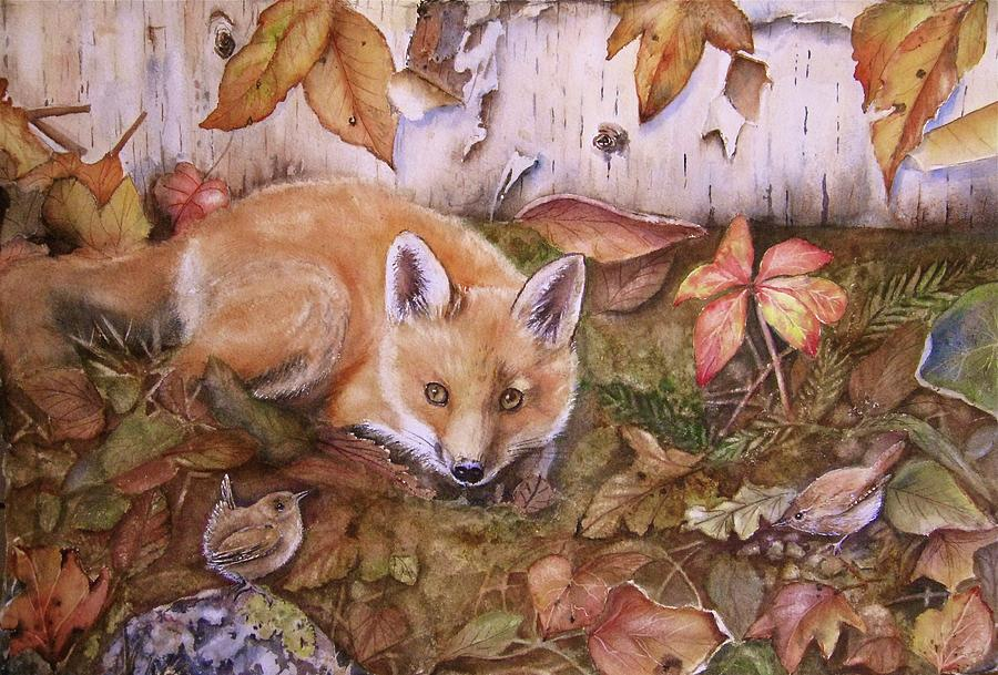 Fox Painting - Threes A Crowd by Patricia Pushaw