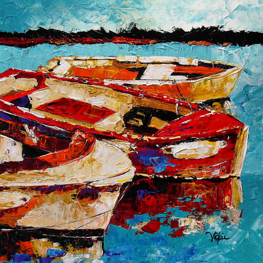 Boats Painting - Threes A Crowd by Vickie Warner