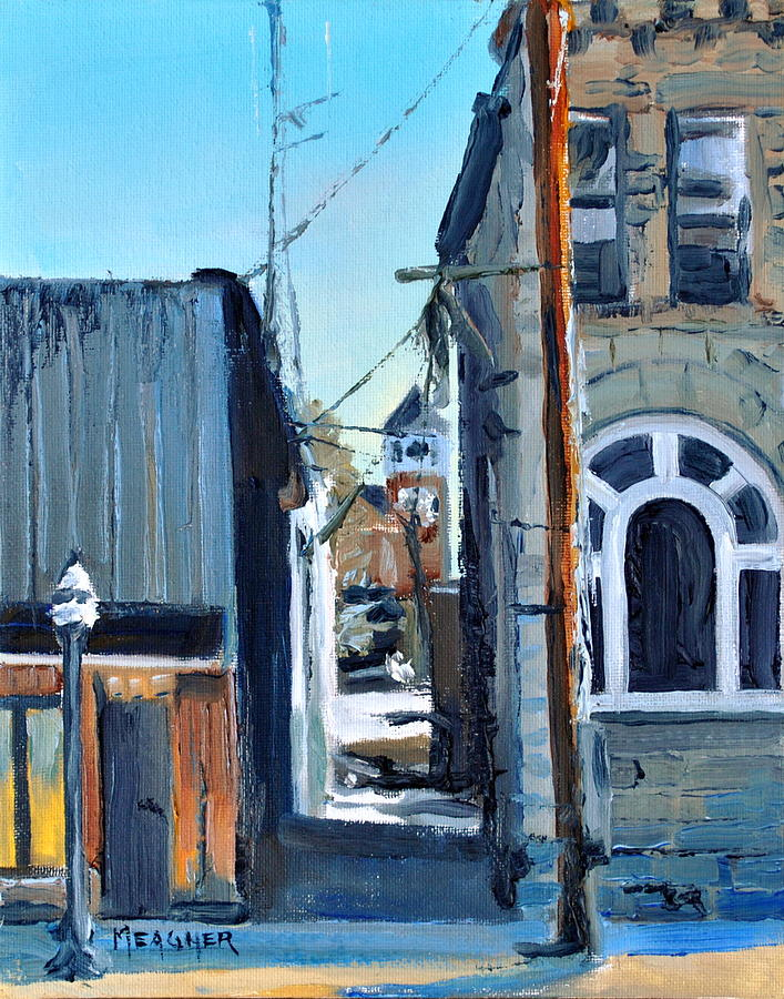 Wayne County Courthouse Painting - Through The Alley by Spencer Meagher