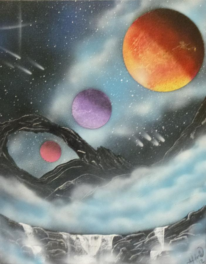 Planets Painting - Through The Clouds by Ashley Mould