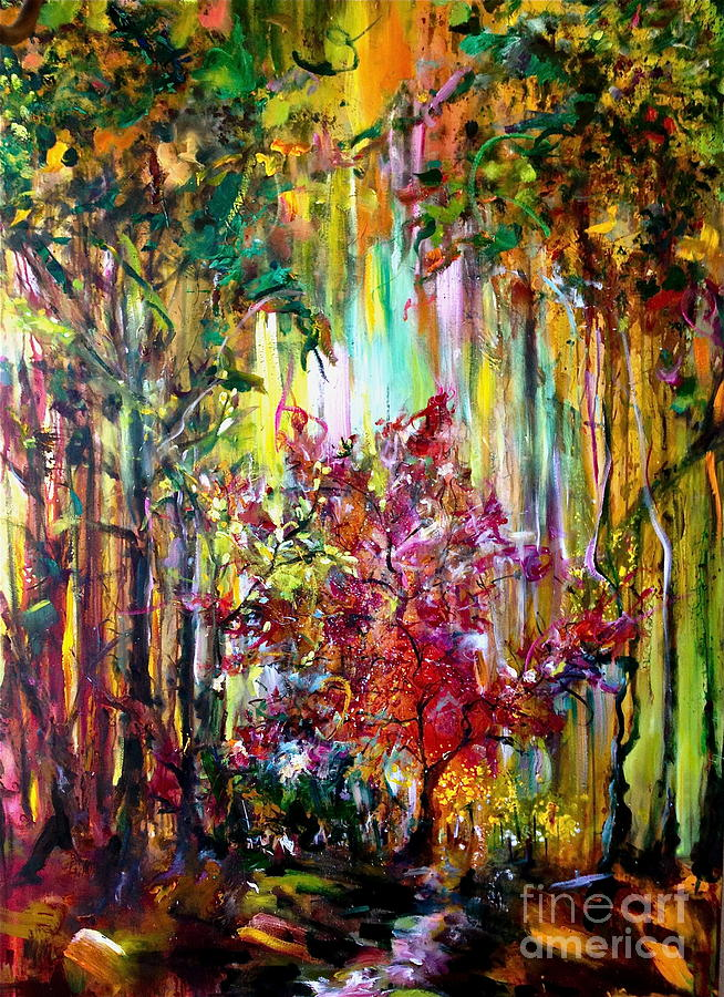 Forest Painting - Through The Forest  by Michelle Dommer