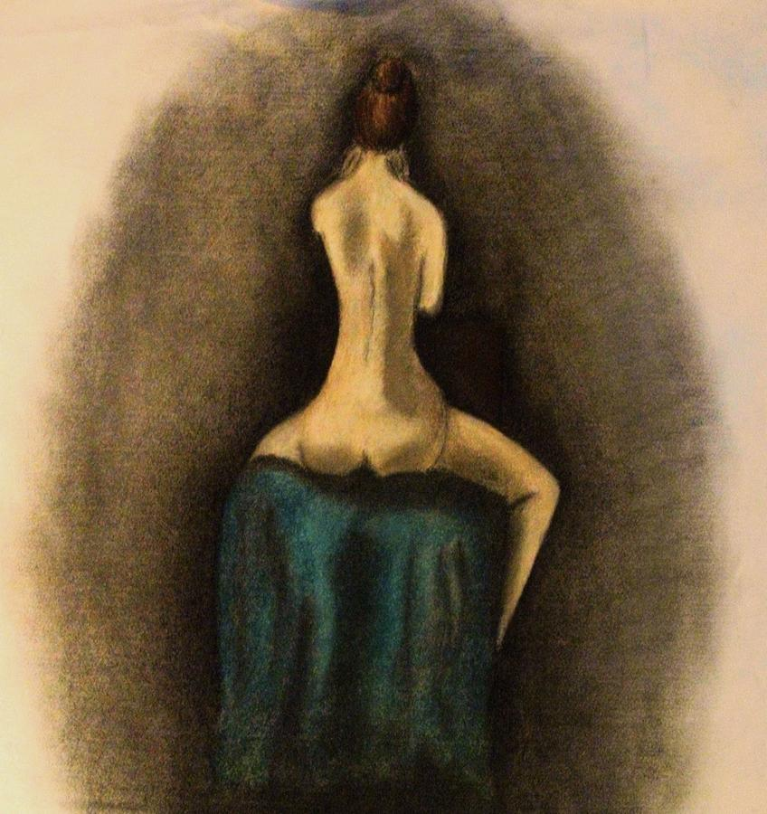 Nude Drawing - Through The Keyhole by Crystal  Menicola