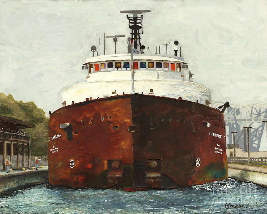 Ship Painting - Through The Locks - Herbert C. Jackson by Stefanie Moran