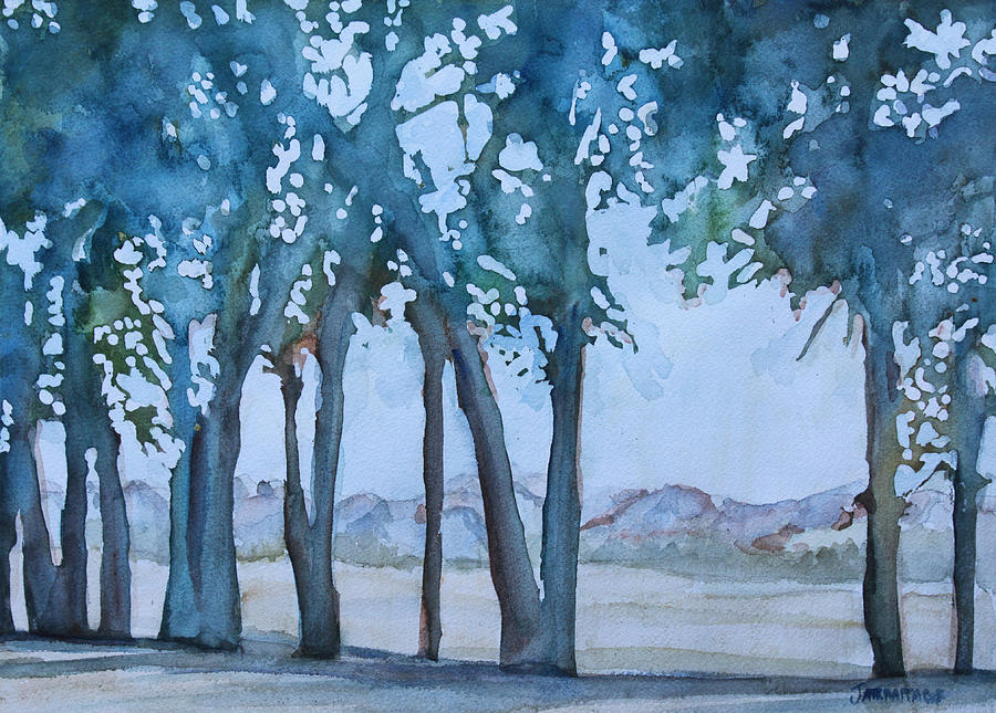 Trees Painting - Through The Wind Break by Jenny Armitage