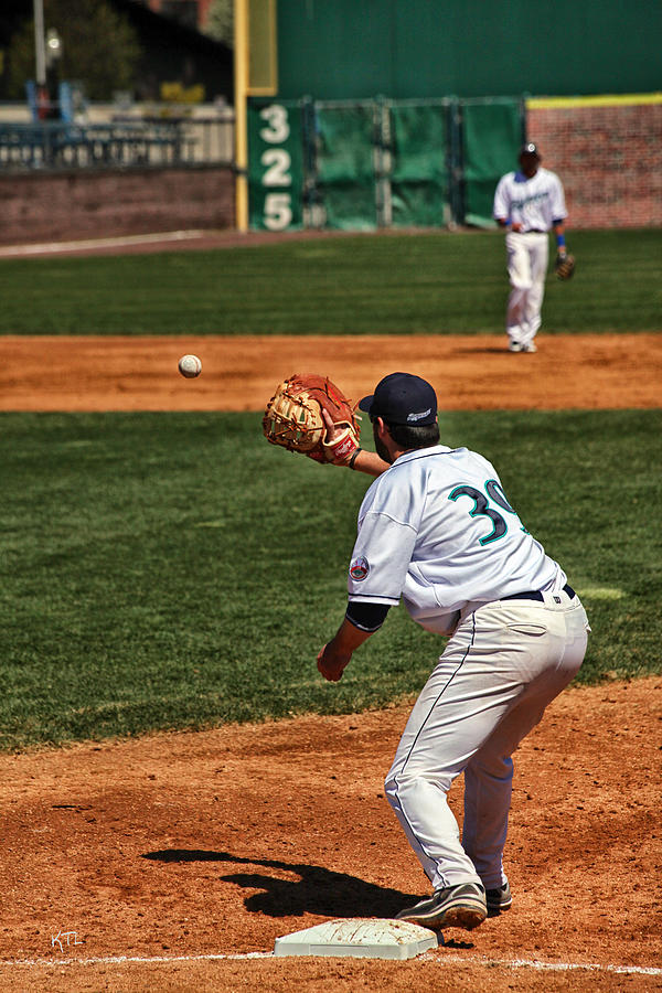 Baseball Photograph - Throw To First by Karol Livote