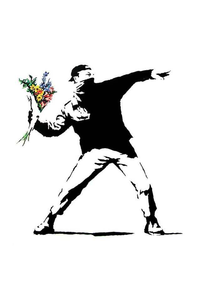 Banksy Photograph - Throwing Love by Munir Alawi