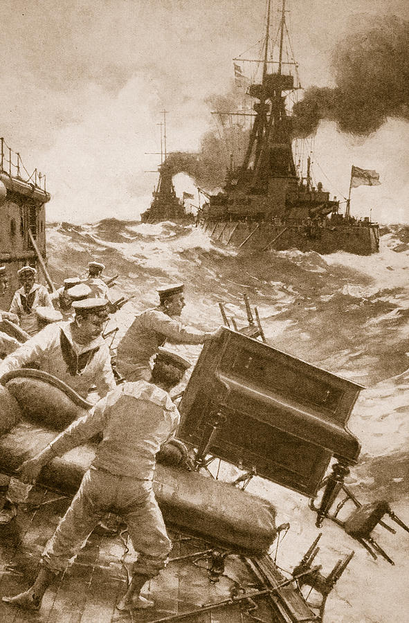 Ww1 Drawing - Throwing Overboard All Inflammable Luxuries When A Battleship Is Cleared For Action by English School