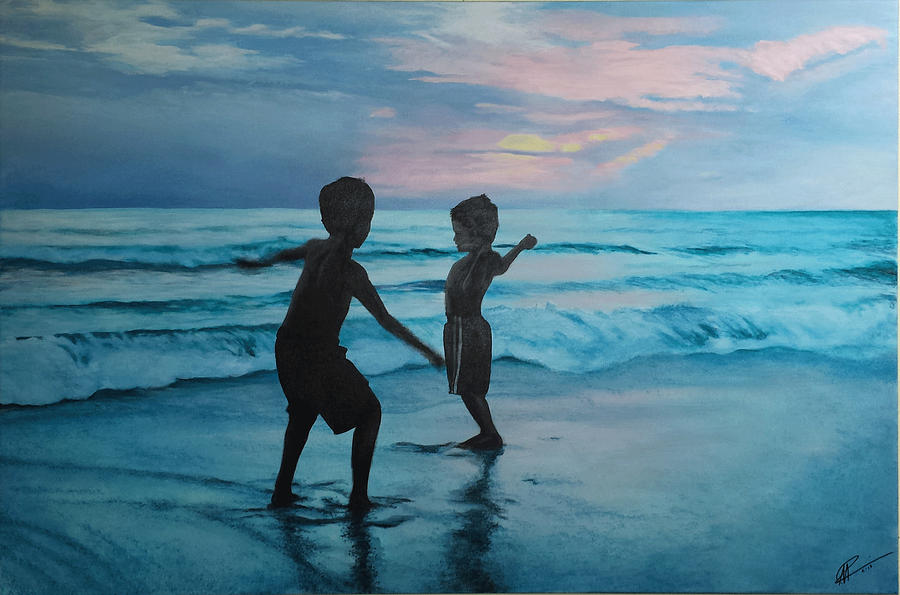 Seascape Painting - Throwing Sand by Scott Robinson