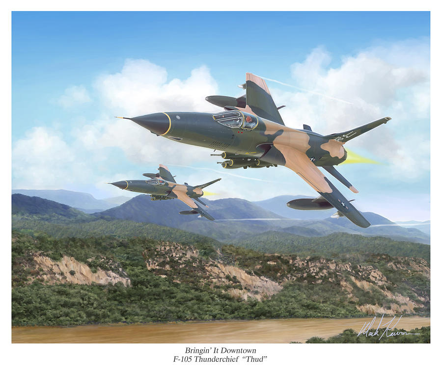F-105 Thunderchief Painting - Thuds Bringin It Downtown by Mark Karvon