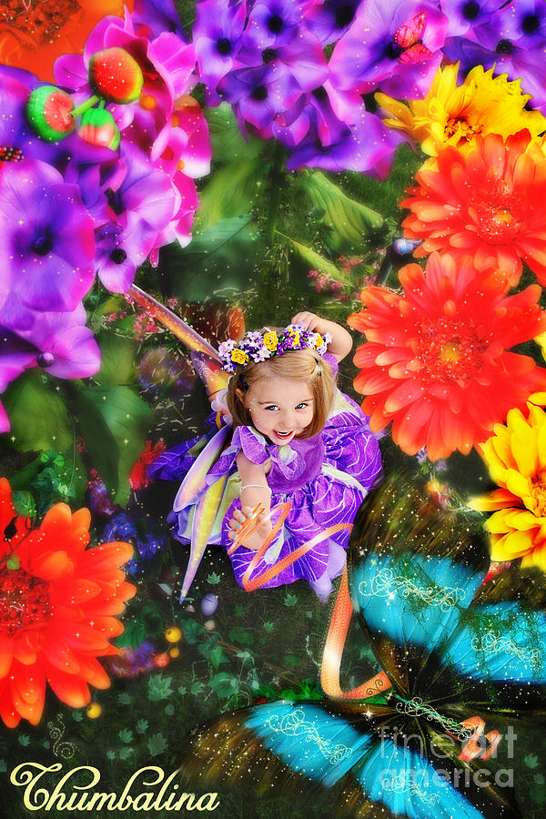 Thumbelina Photograph - Thumbelina Looks Up Holding Her Butterfly In Fairy Tale Garden by Fairy Tales Imagery Inc