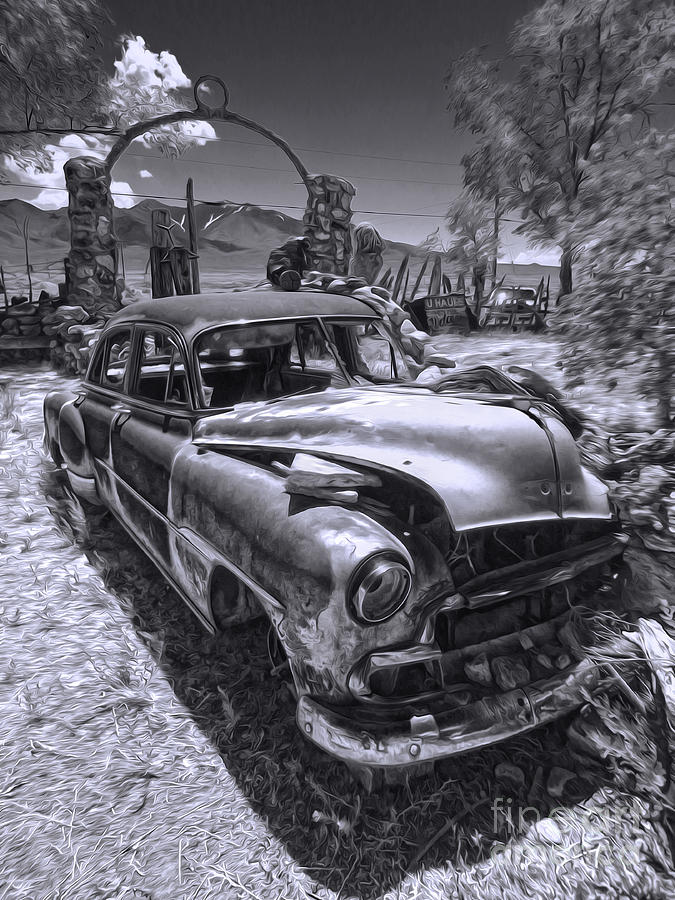Roadside America Photograph - Thunder Mountain Indian Monument -  Car Wreck by Gregory Dyer