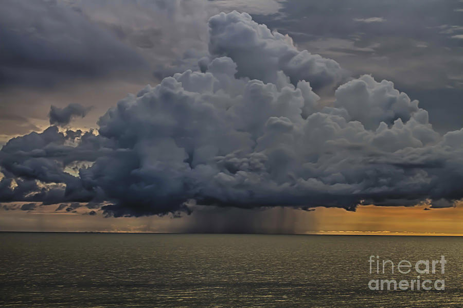 Thunder Photograph - Thunder Storm Cloud Over The Gulf Of Mexico by Robert Wirth