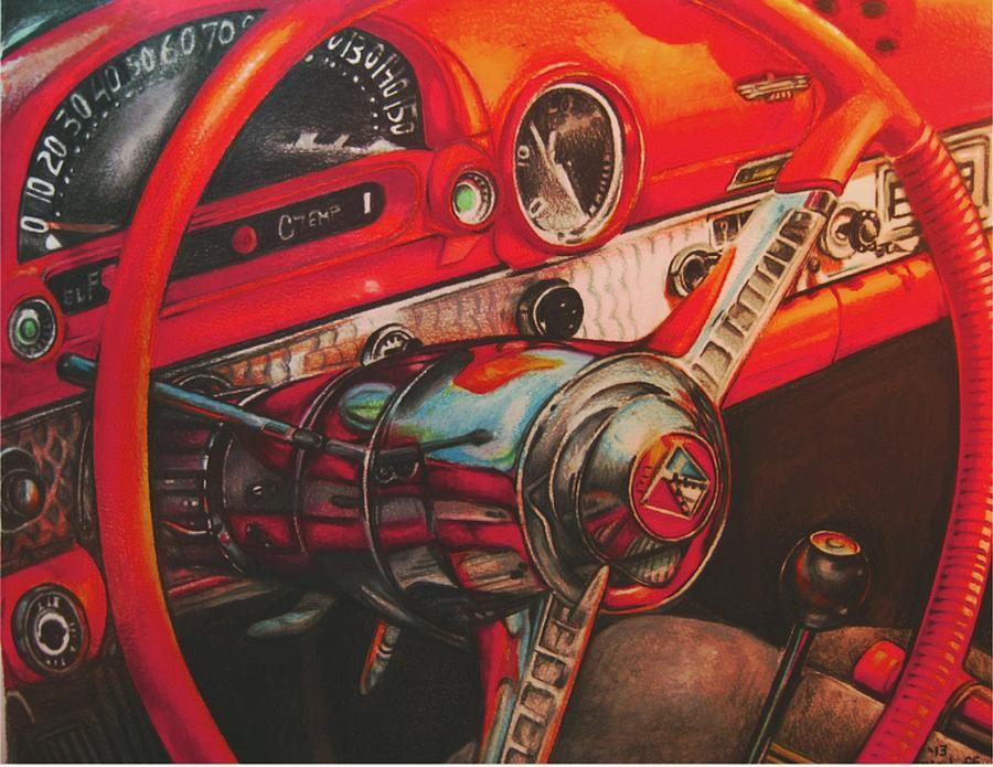 Color Pencil Drawing - Thunderbird Red by Kathleen Bischoff