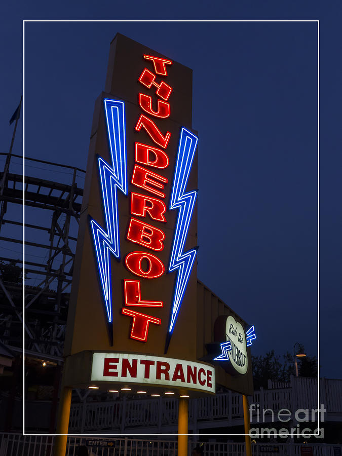 Amusement Photograph - Thunderbolt Rollercoaster Neon Sign by Edward Fielding