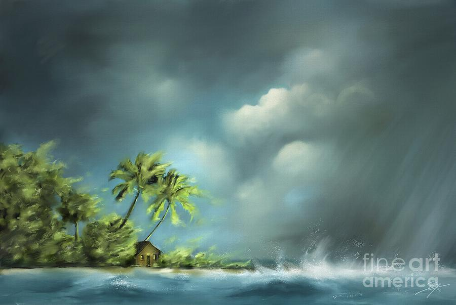 Beach Painting - Thunderstorm At Jupiter Beach by Artist ForYou