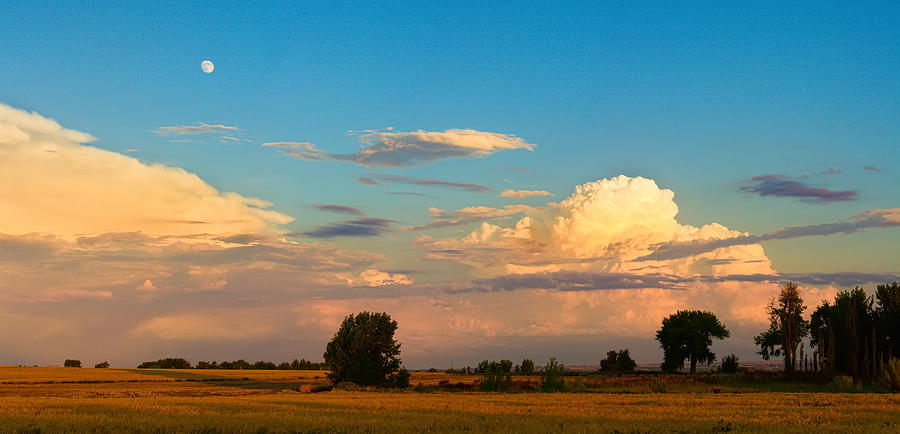 Thunderstorms Photograph - Thunderstorm Front Blue Sky And Moon Panorama by James BO  Insogna