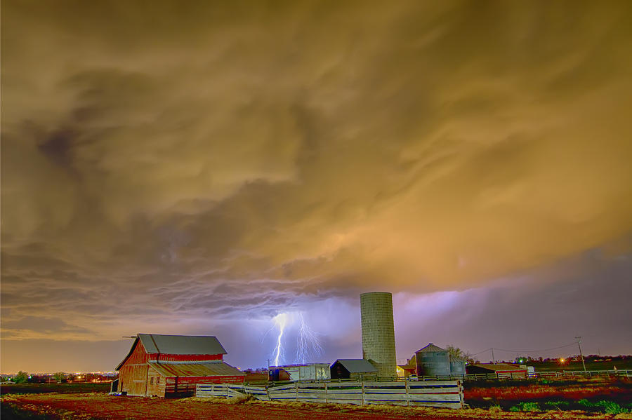 Lightning Photograph - Thunderstorm Hunkering Down On The Farm by James BO Insogna