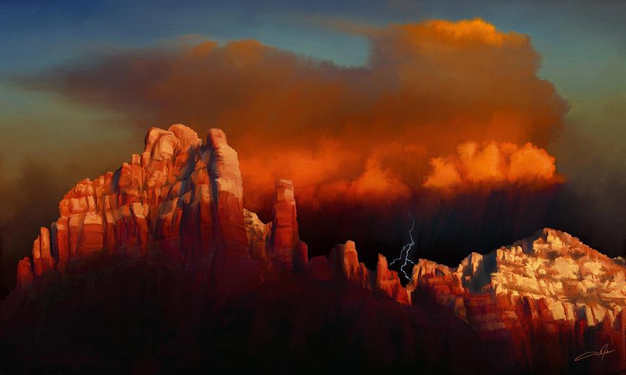 Thunderstorm Digital Art - Thunderstorm Over Sedona by Dale Jackson