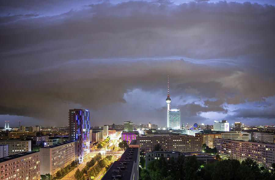 Thunderstorm With Berlin Skyline Photograph by Spreephoto.de