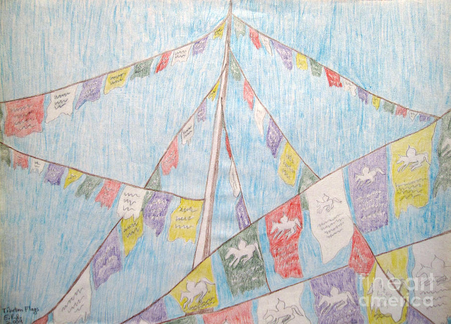 Tibetan Drawing - Tibetan Flags by Elizabeth Stedman