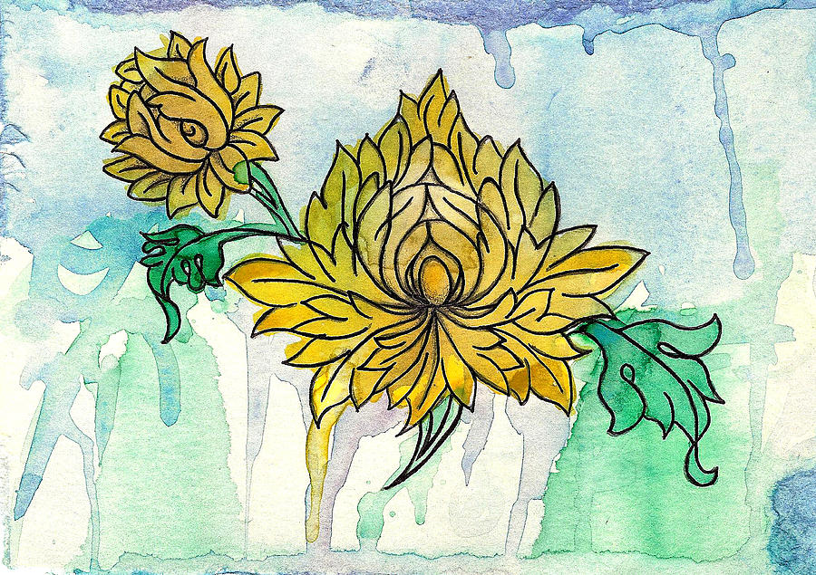 Tibetan Flowers Painting by April Dunlap