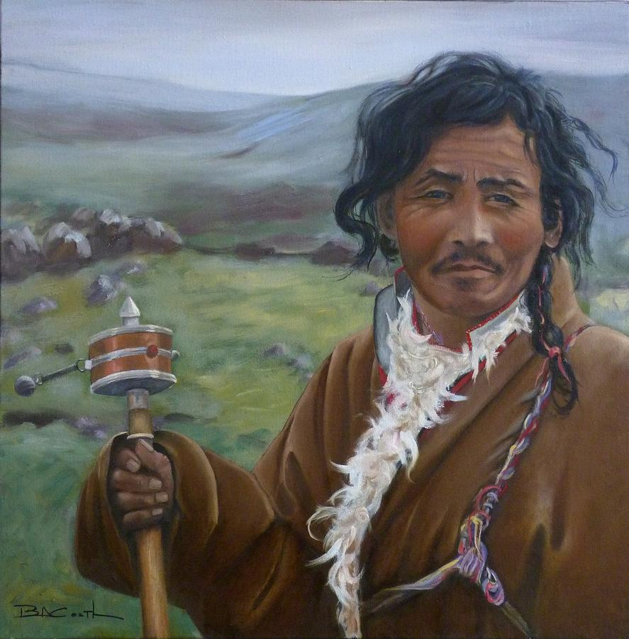 Tibet Painting - Tibetan Nomad With Prayer Wheel by Birgit Coath