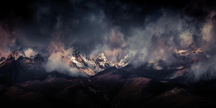 Mountain Photograph - Tibetan Snow Capped Mountains A???c????a????e???ae???a??? by Qiye???????????