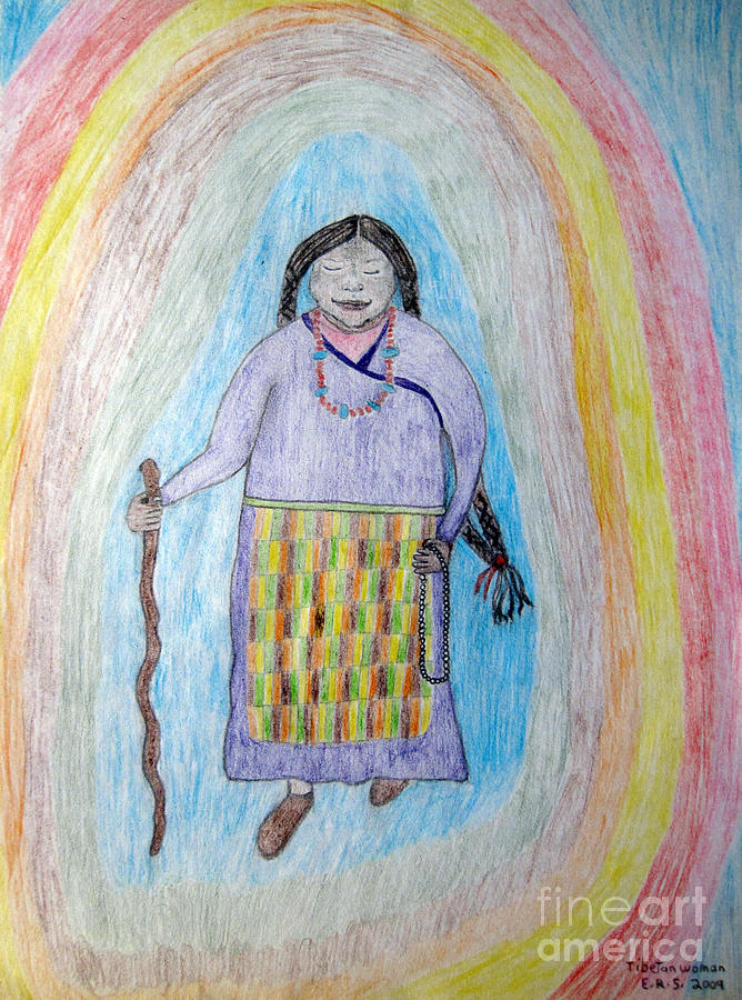 Tibetan Drawing - Tibetan Woman by Elizabeth Stedman