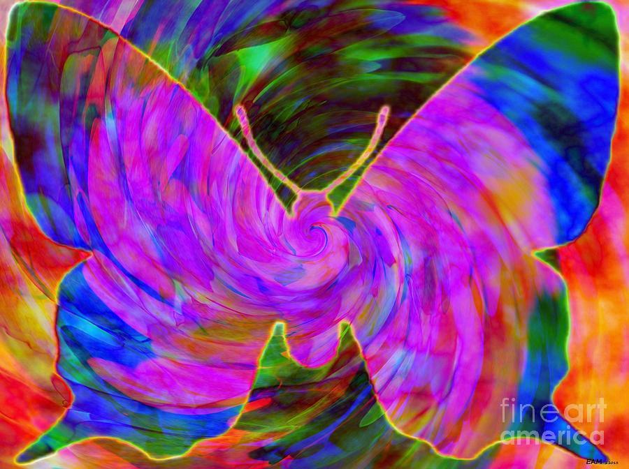 Imagery Digital Art - Tie-dye Butterfly by Elizabeth McTaggart