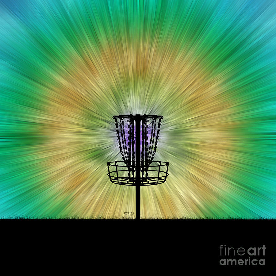 Tie Dye Disc Golf Basket Digital Art by Phil Perkins