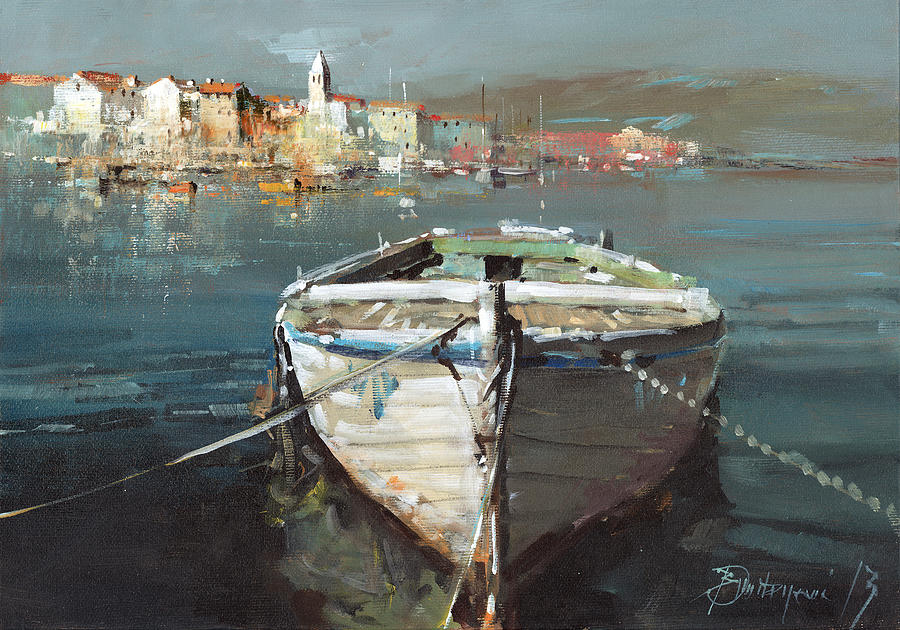 Boat Painting - Tied Boat By The City by Branko Dimitrijevic