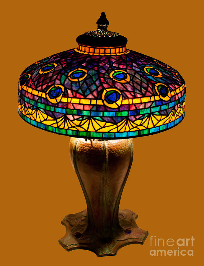 Tiffany Glass Glass Art - Tiffany Peacock Lamp by David Kennedy