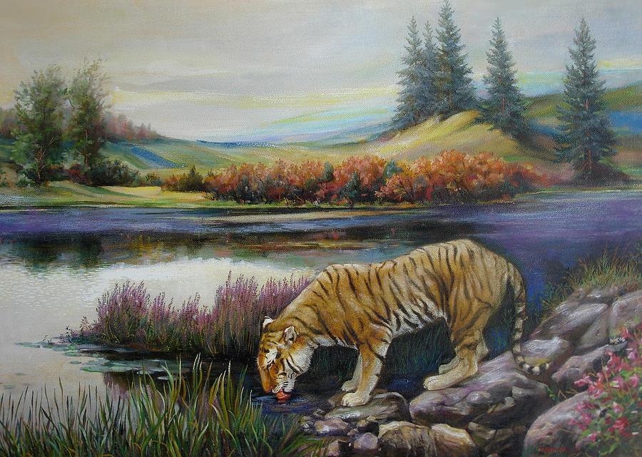 Siberian Tiger Painting - Tiger By The River by Svitozar Nenyuk