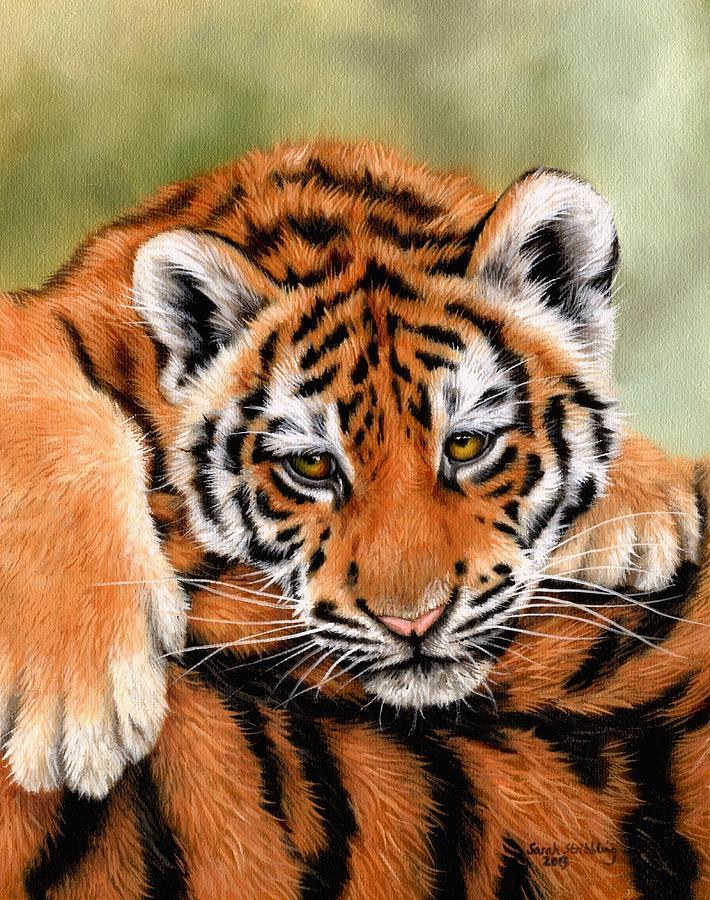 Tiger Painting - Tiger cub by Sarah Stribbling