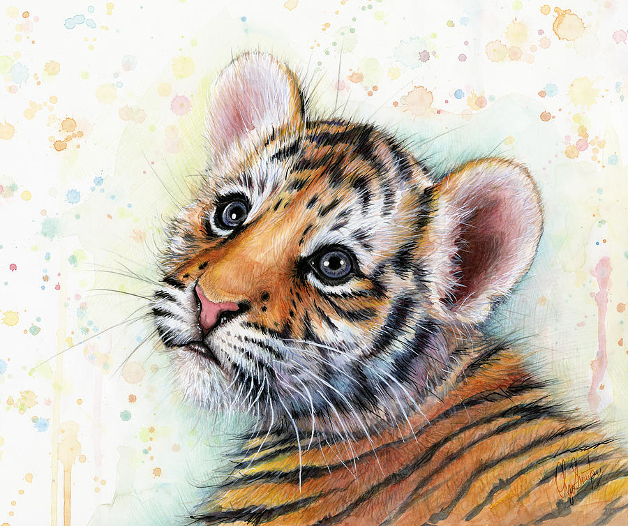 Tiger Painting - Tiger Cub Watercolor Art by Olga Shvartsur