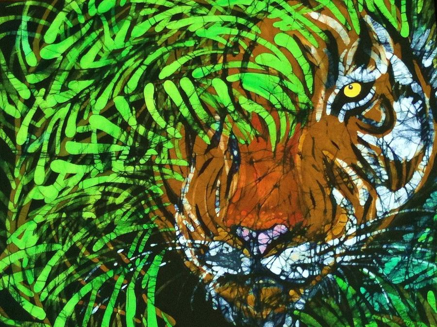 Bengal Tiger Tapestry - Textile - Tiger In Bamboo  by Kay Shaffer