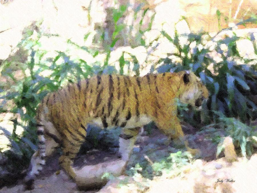 Tiger Photograph - Tiger In Crayon by Judy  Waller