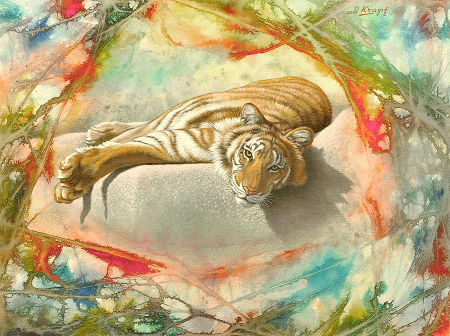 Wildlife Painting - Tiger Laying In Abstract by Paul Krapf