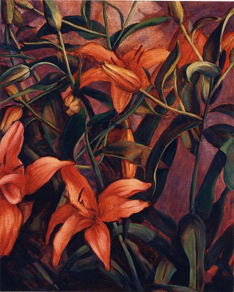 Tiger Painting - Tiger Lilies by Konnie Kim
