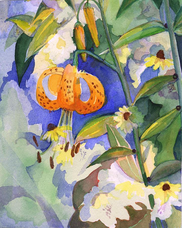Tiger lily in dappled light  by Nancy Watson