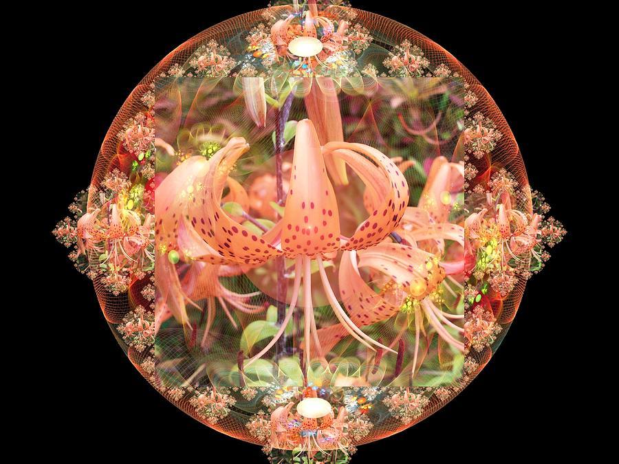 Floral Digital Art - Tiger Lily Sphere by Nancy Pauling