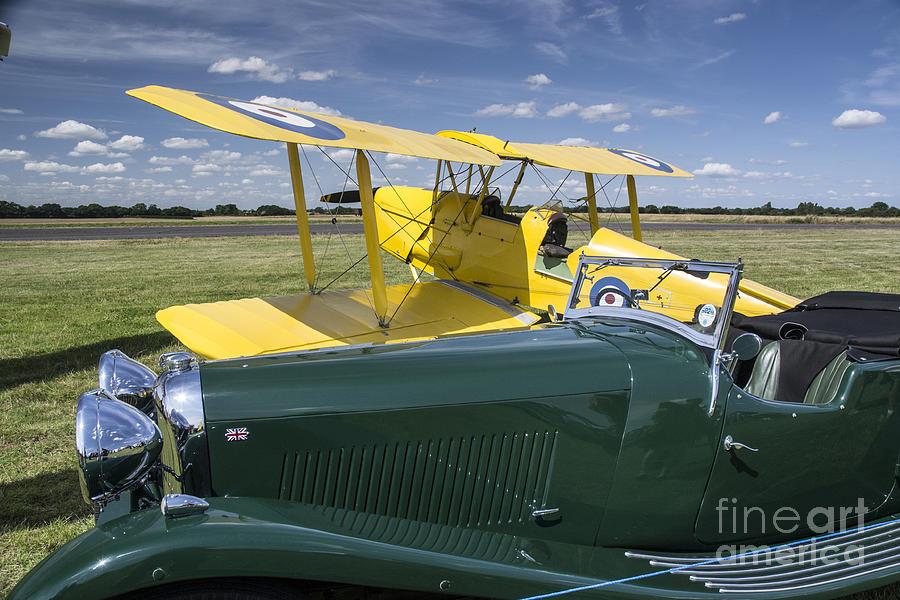 Second World War Photograph - Tiger Moth and Lagonda by Simon Pocklington