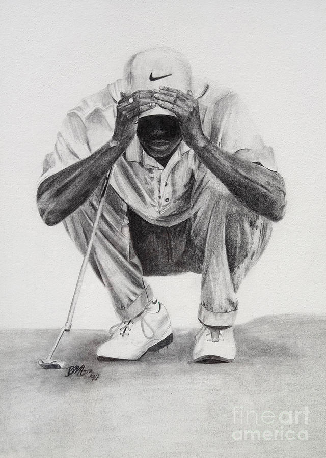 Tiger Woods Drawing - Tiger Putting by Devin Millington